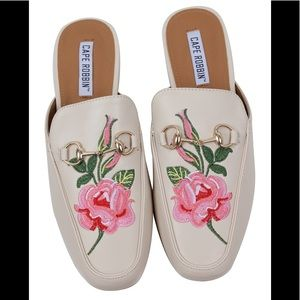 Shoes - Nude Floral Embroidered Slip on Mules